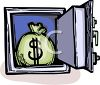 Open Safe with a Bag of Money Inside clipart