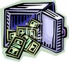 Open Safe with Stacks of Money Tumbling Out clipart