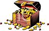 Treasure Chest Filled with Coins  clipart