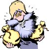 Prospector Holding Bags of Gold clipart