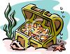 Sunken Treasure Chest Full of Gold Coins and Jewels clipart
