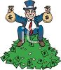 Rich Guy Sitting on a Pile of Money clipart
