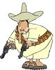 Mexican Bandito Holding Revolvers clipart