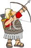 Roman Soldier Shooting a Bow and Arrow clipart