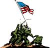 American Soldiers Planting the Flag at Imo Jima clipart