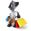 3D Siamese Cat Carrying Shopping Bags clipart