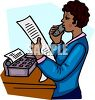 African American Sales Woman Reading a Fax Over the Phone clipart