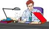 Salesman Working at His Desk clipart