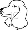 Black and White Cartoon of a Dog clipart