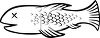 Black and White Cartoon of a Dead Fish clipart