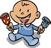 Cartoon Baby Boy Holding a Rattle in Each Hand clipart