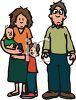 Cartoon of a Poor Family with Two Little Boys clipart