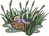 Baby Moses in a Basket Stuck in Some Bulrushes clipart