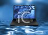 3D Laptop Sitting on Water clipart