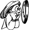 Teenage Girl Watching at a Clock with Worry clipart
