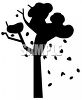 Silhouette of a Fall Tree with Leaves Blowing Around clipart