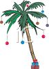 Palm Tree Decorated with Christmas Ornaments clipart