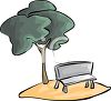 Tree Over a Park Bench clipart