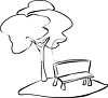 Black and White Park Bench with a Tree clipart