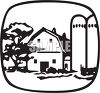 Old Fashioned Barn with Silos clipart