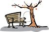 Bench Under a Fall Tree clipart