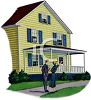 Couple Looking at a Clapboard House with a Large Porch clipart