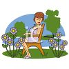 Cartoon of a Woman Sitting By a Lake clipart