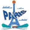 Cartoon of Paris with the Eiffel Tower clipart