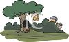 Kids Playing Hid and Seek in a Park clipart