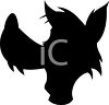 Animal Silhouette of a Wolf Head clipart