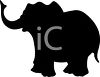 Animal Silhouette of a Cartoon Elephant clipart