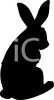 Animal Silhouette of a Sitting Rabbit clipart