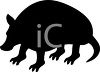 Animal Silhouette of an Armadillo clipart
