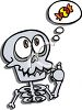 Cute Cartoon Skeleton Thinking of Halloween Candy clipart