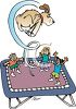Kids and the Family Dog Playing on a Trampoline clipart