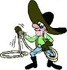 Cartoon Cowboy Twirling a Lasso clipart
