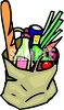 Paper Bag Full of Groceries clipart