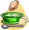 Bowl of Potato Soup with Crackers clipart