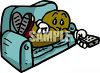 Cartoon of a Couch Potato with a Television Remote Control clipart