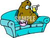Couch Potato Eating a Snack clipart