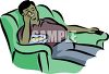Fat Guy Sitting on a Couch Eating - Couch Potato clipart