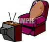 Cartoon of a Couch Potato Watching Television clipart