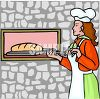 Lady Putting Bread in a Brick Oven clipart