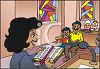 Female Pastor Reading the Bible to Parishioners clipart