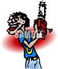 Cartoon of a Lunatic with a Chainsaw clipart