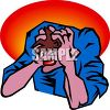 Crazy Man Holding His Head in Frustration clipart