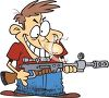 Cartoon of a Crazy Man Holding a High Powered Rifle clipart