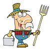 Occupation Cartoon of a Farmer Holding a Pitchfork clipart