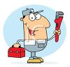 Occupation Cartoon of a Plumber Holding a Wrench clipart