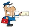 Occupation Cartoon of a Mailman Holding a Letter clipart